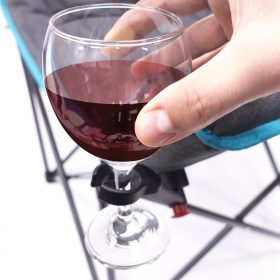 PADDED LUXURY FOLDING WINE CHAIR - TEAL/GRAY