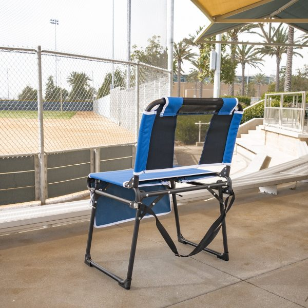 FOLDING STADIUM BLEACHER CHAIR - BLUE/BLACK