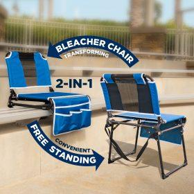 FOLDING STADIUM BLEACHER CHAIR - BLUE/BLACK