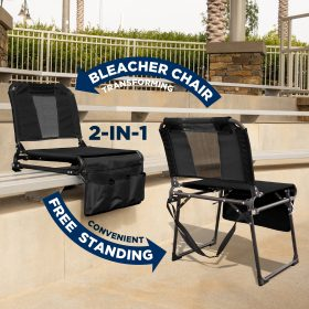 FOLDING STADIUM BLEACHER CHAIR - BLACK/BLACK