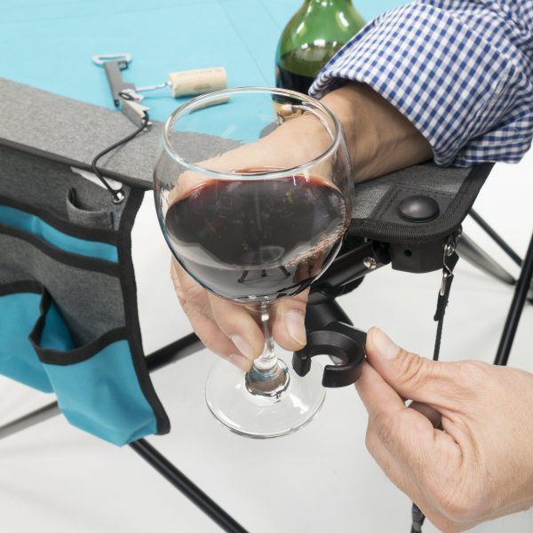 FOLDING WINE TABLE - TEAL/GRAY