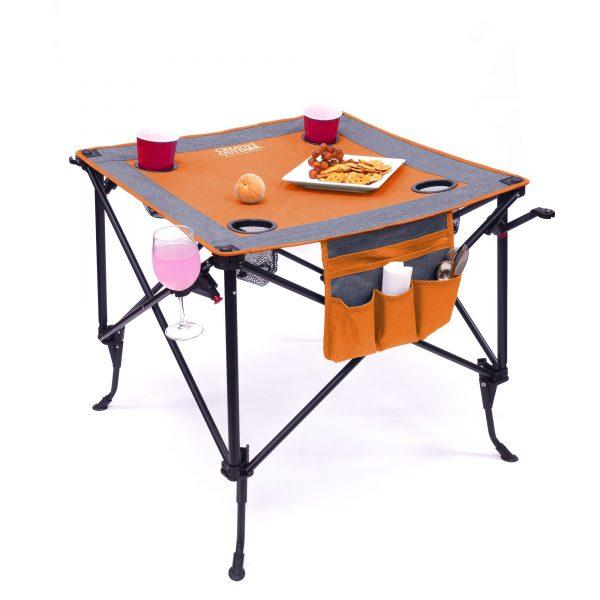 TWO-HEIGHT FOLDING WINE TABLE - ORANGE/GRAY