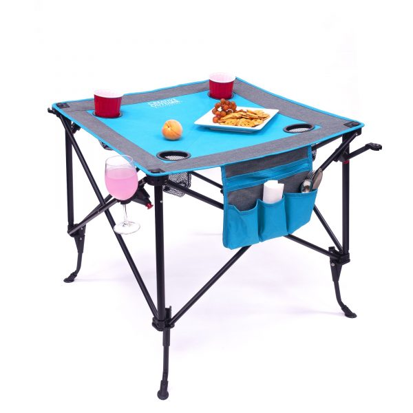 TWO-HEIGHT FOLDING WINE TABLE - TEAL/GRAY